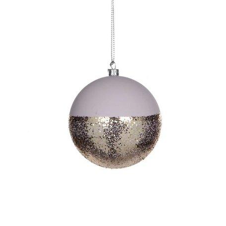 Dipped kerstbal - Roze, goud glitter