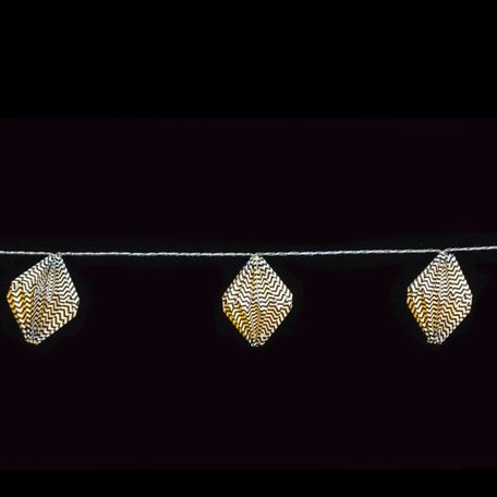Lichtsnoer zwartwit papieren diamant lampjes