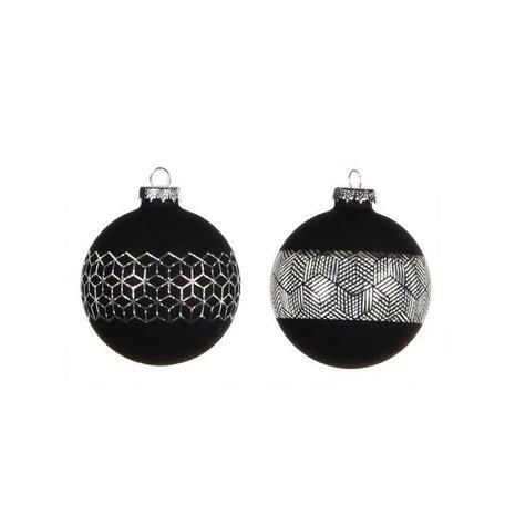 Set van 2 kerstballen zwart / glas