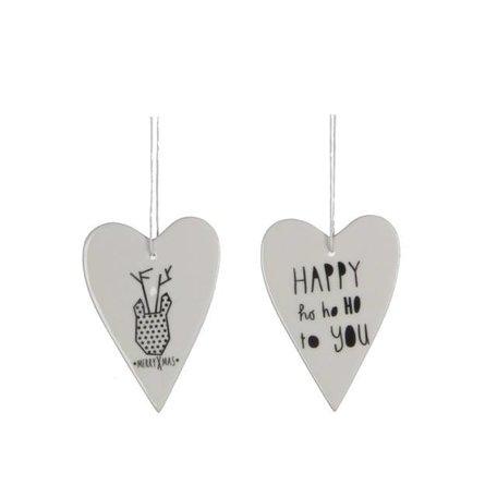 Set van 2 porseleinen hart ornamenten
