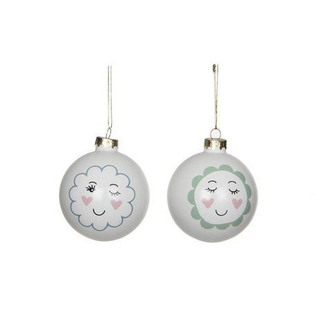 Set of 2 trendy Christmas balls face