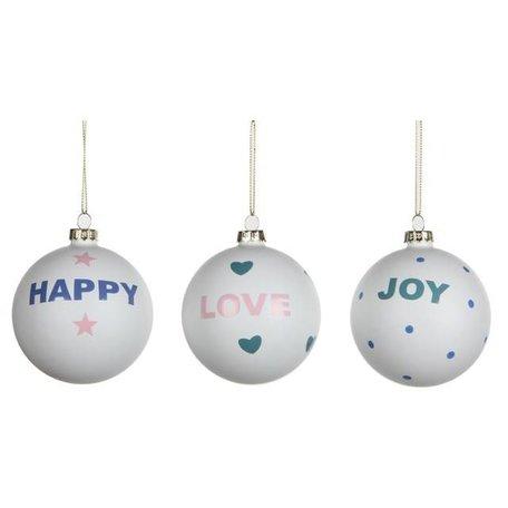 Set van 3 kerstballen Happy, Love, Joy