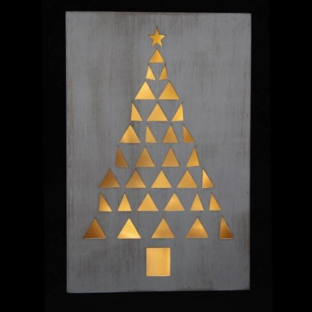 Whitewash frame Christmas tree with light