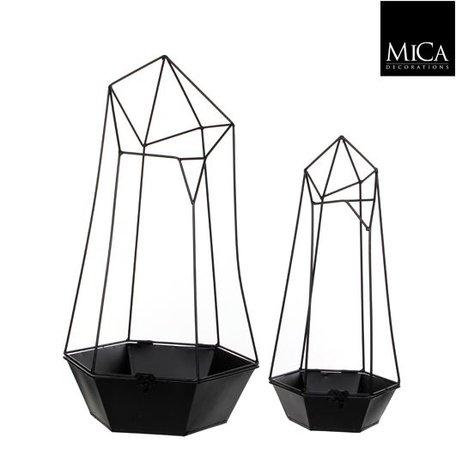 Zwart metalen sierpot met frame Medium