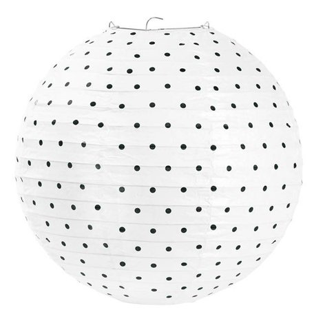 Rijstpapier lamp small black dots 30,5 cm