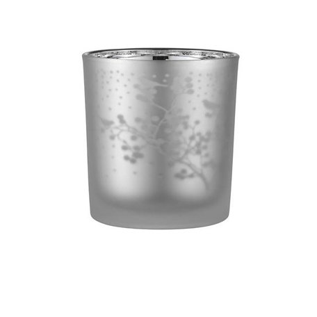 Frosted waxinelichthouder takjes grijs / zilver