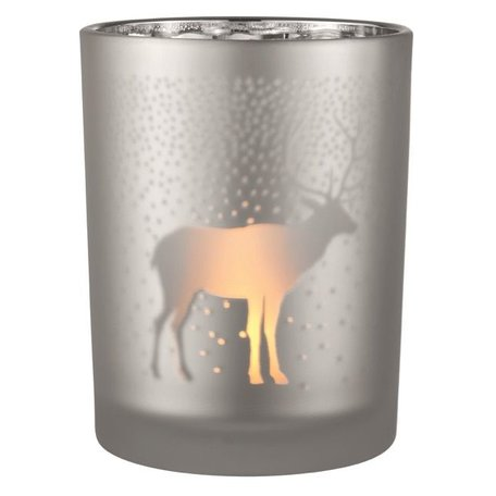 Frosted Tea light holder reindeer silver