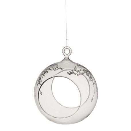 Glas voerbal voor vogels zilver 88794