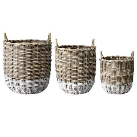 Dipped rattan basket Natural / white - Large