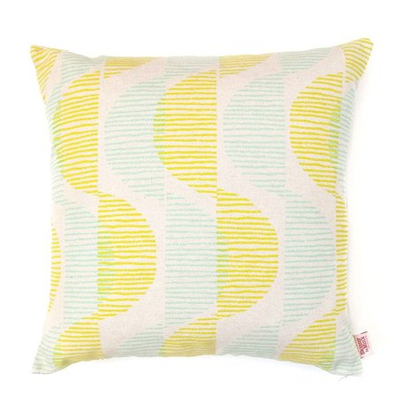 Cushion cover Sway - lemon / mint