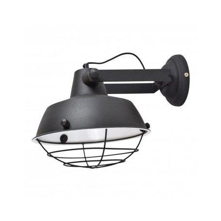 Industriële wandlamp prison - zwart