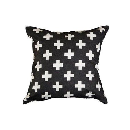 Cushion cover - black / white plus