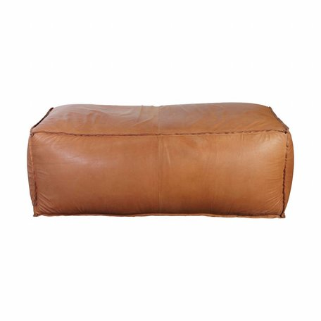 Leather pouf - Soft Brick