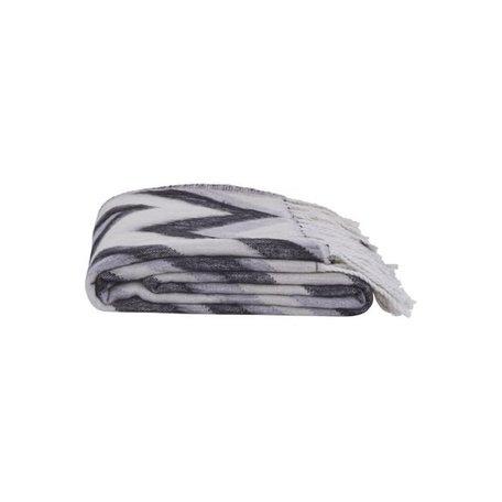Plaid Zigzag  - zwart grijs wit