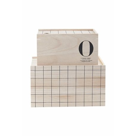 Set of 2 - wooden storage boxes - O