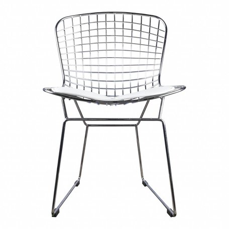 Dining chair / wire chair Bertoia chrome - incl white cushion