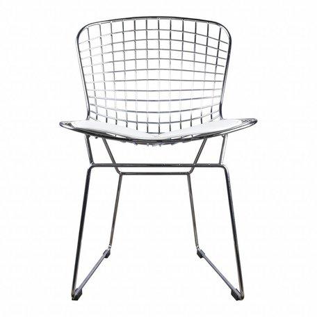 Eetkamerstoel / draadstoel Bertoia chrome - incl wit kussen