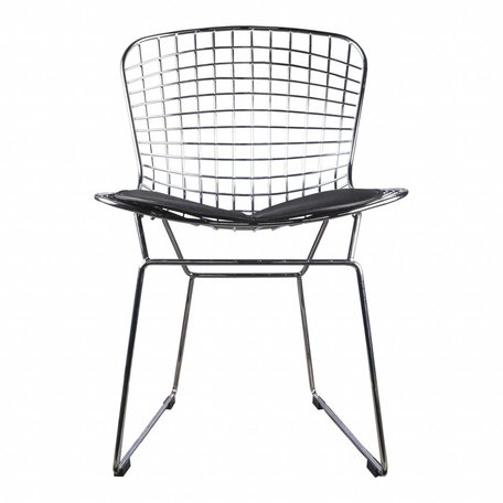 Eetkamerstoel / draadstoel Bertoia chrome - incl zwart kussen