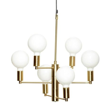 Messing hanglamp - 6 LED lamp bollen