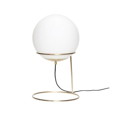 Brass table lamp - Milk glass bulb