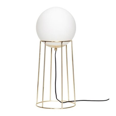 Brass floor lamp - Milk glass bulb