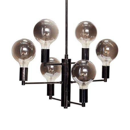 Pendant lamp chandelier black - 6 bulbs