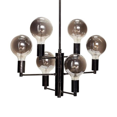 Pendant lamp chandelier black - 6 LED bulbs