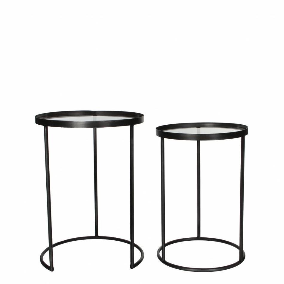 2 Glazen Bijzettafeltjes.Side Tables Silver Set Of 2