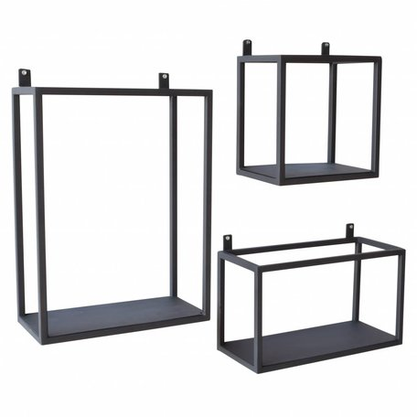 Wandboxen zwart - Set van 3