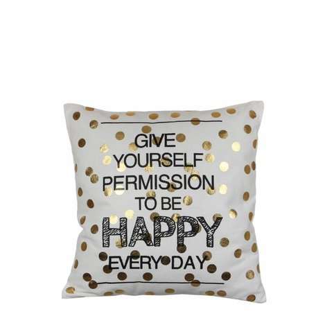 Kussen Happy Day - Dots goud
