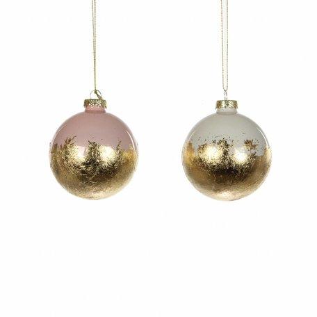 Set van 2 kerstballen - Roze / Wit / Goud