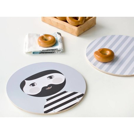 Wooden plate Bearded man