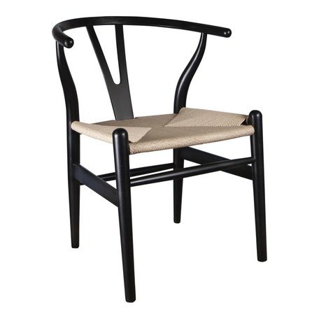Wishbone Y chair black - Natural seat