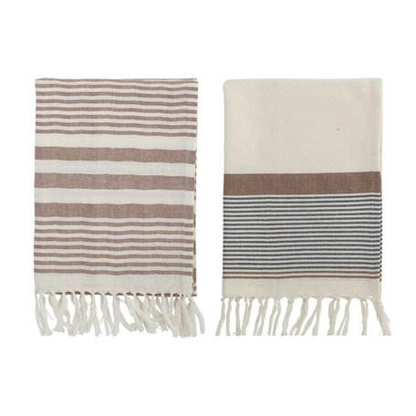 Set of 2 pcs teatowels - Brown - Fringes