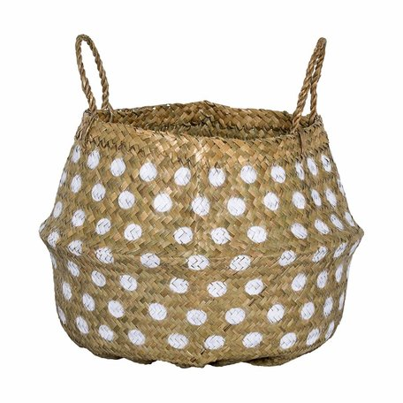 Seagrass basket - White Dots