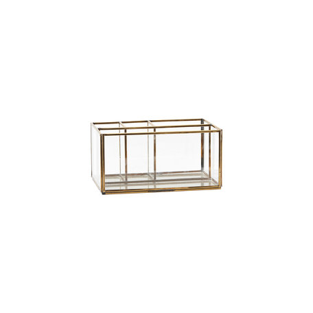 Glass storage box - Brass