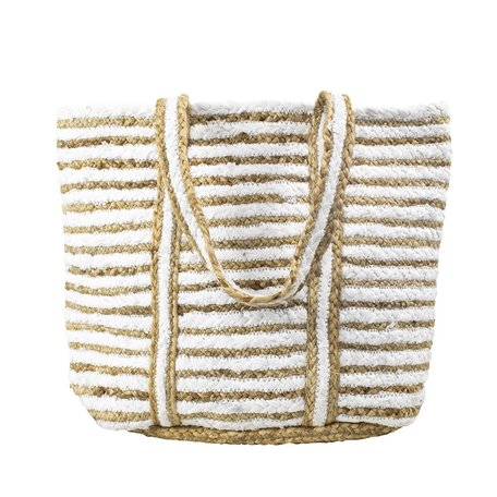 Jute bag - Striped- White