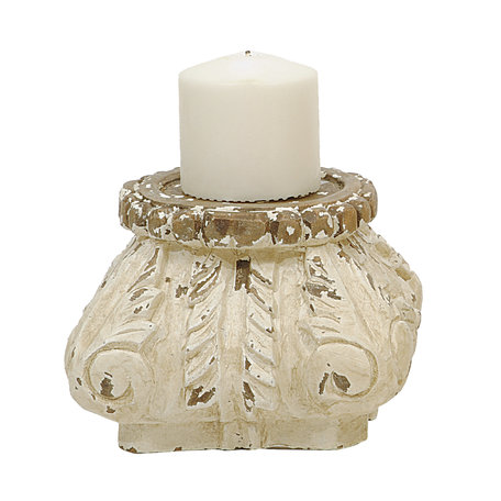Brocante candlestick - Wood - Offwhite