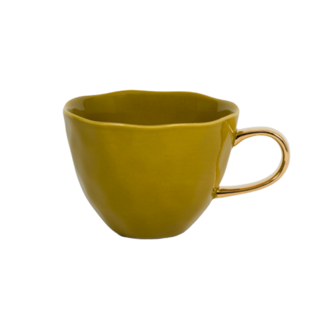 Good morning mug - Cup with golden ear - Amber green
