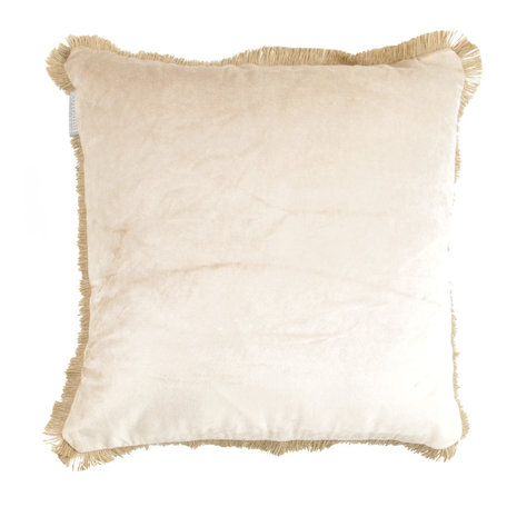 Velvet cushion fringes - Sand