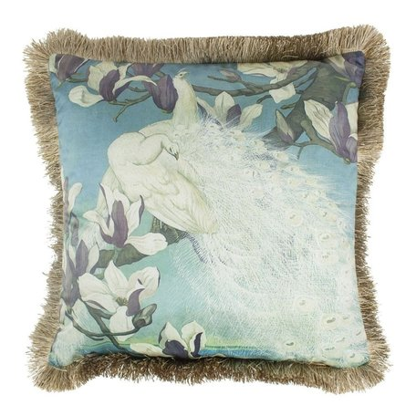 Velvet cushion white peacocks - Fringes gold