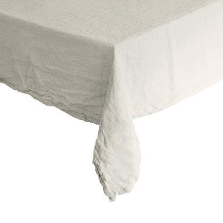 Washed  linnen tafelkleed - wit - 142 cm x 270 cm