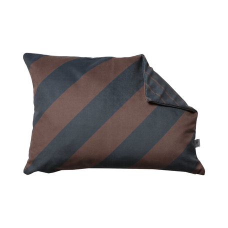 Velvet cushion - Diagonal stripe - Grey / Cognac