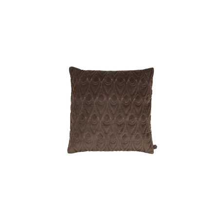 Velvet cushion Peacock - Dark brown