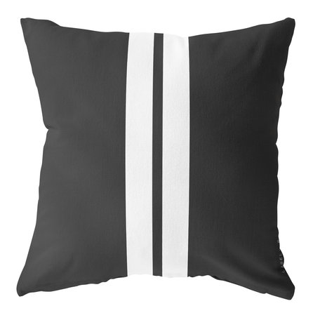 Outdoor cushion - Black /  white striped - 50 cm x 50 cm