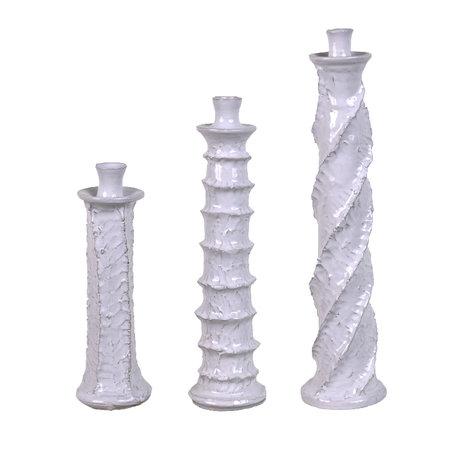 Set van 3 - Keramiek kandelaars - Wit