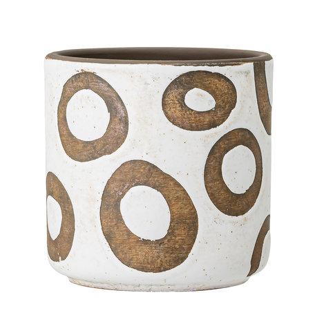 Flowerpot white - Terracotta circles