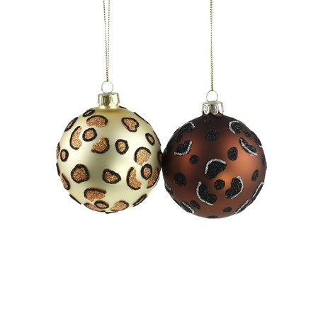 Christmas baubles leopard print - 2 pieces - Ø 8 cm