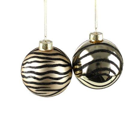 Kerstballen tijger print - 2 st - Ø  8 cm