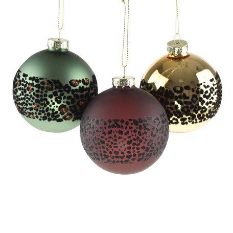 Kerstballen Leo - 3 st - Ø  8 cm